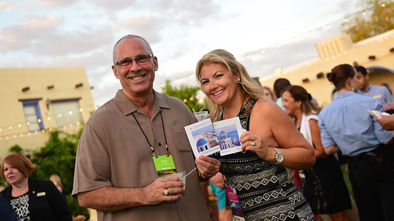 "Sponsored by Passport Online, the ""Meet Your Match"" networking game brought together Dan Dorn, director of sales, Southwest, for CIE Tours International, and Sharon Campbell Little, owner of Wedding and Honeymoon Travel Group. // © 2016 Jim Harris"