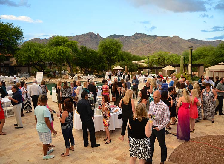 GTM West attendees networked poolside during the Saturday evening dinner reception sponsored by Starwood Hotels & Resorts Worldwide and The Westin La Paloma Resort and Spa. // © 2015 J. Martin Harris Travel & Leisure Photography