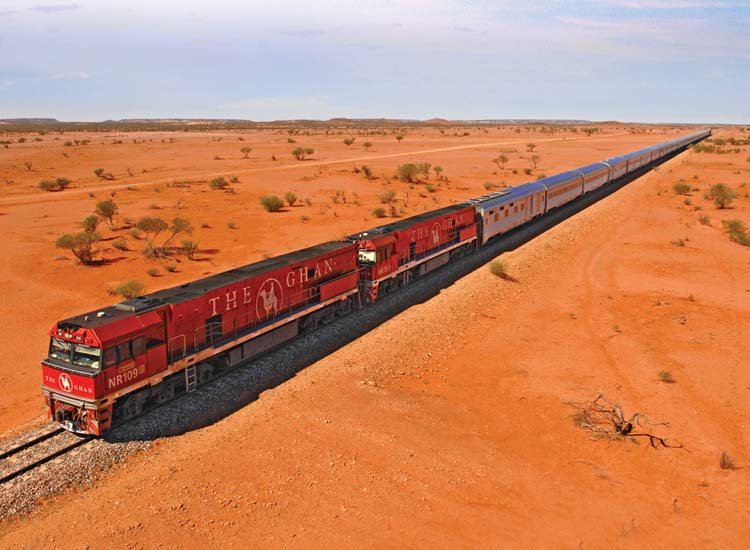 The Ghan travels through Adelaide, the Northern Territory and Alice Springs. // © 2015 Great Southern Rail