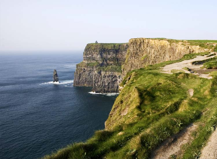 Five miles wide and more than 700 feet tall, the Cliffs of Moher is one of Ireland's most visited sites. // © 2014 christobolo/Thinkstock