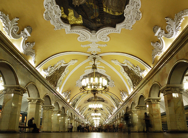The grand design of Komsomolskaya station in Moscow was inspired by one of Stalin's speeches given in 1941. // © 2014 Creative Commons user arthurvd