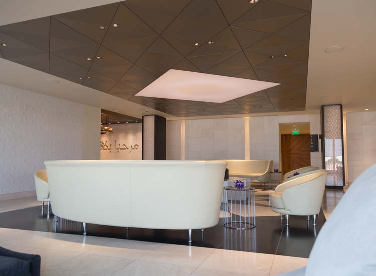 The hosts and hostesses at Qatar Airways' Premium Lounge in Heathrow Airport will personally alert you when your plane is ready for departure. // © 2015 Creative Commons user u07ch