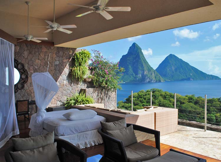 The guestrooms at Jade Mountain Resort provide some of the most beautiful views of St. Lucia. // © 2014 Skye Mayring