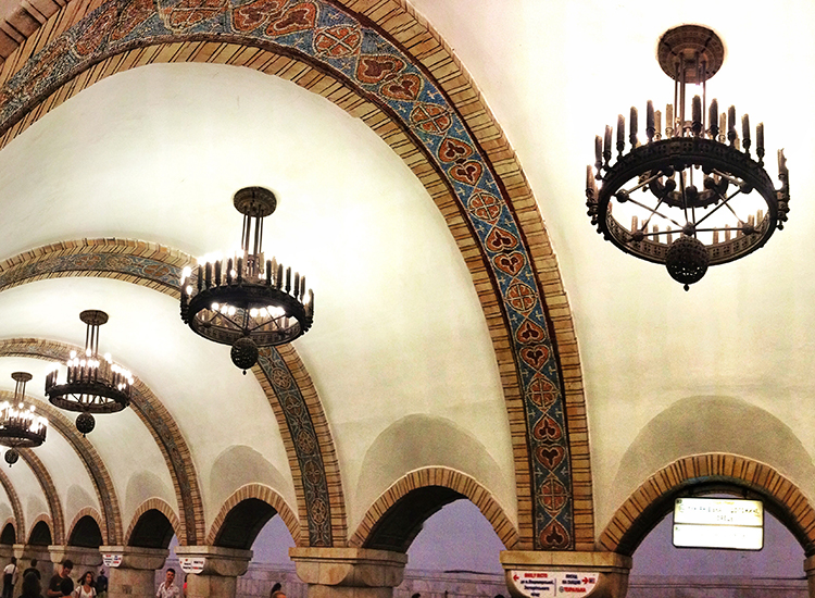 Colossal vaulted halls and mosaics make Zoloti Vorota station a must-see in Kiev. // © 2014 Creative Commons user farflungistan