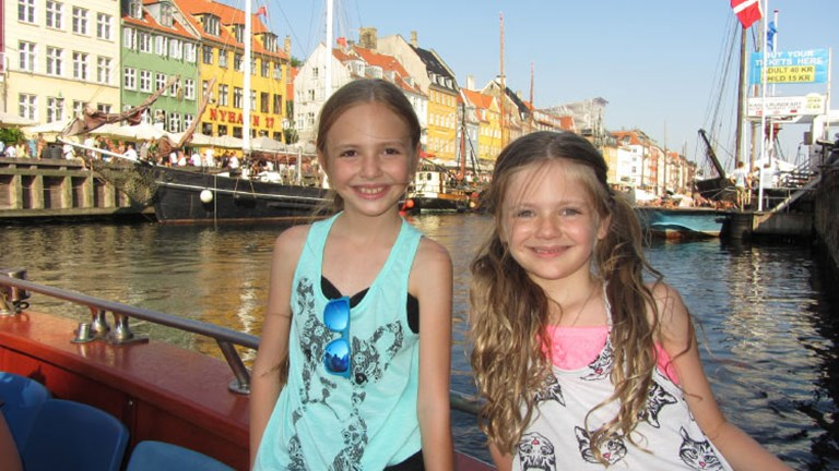 Sisters Brooklyn (left) and Bailey Stevenett loved exploring their roots in Copenhagen, home to Tivoli Gardens amusement park. // © 2016 Natalie Stevenett
