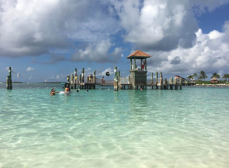 A play structure in the middle of the island's family swimming lagoon // © 2016 Chelsee Lowe