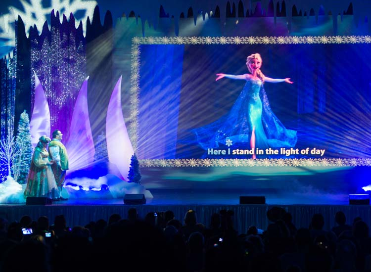 "Fans of the film ""Frozen"" exercise their vocal chords with an excellent cast during daily performances of the Frozen Sing-Along Celebration. // © 2015 Walt Disney World Resort"