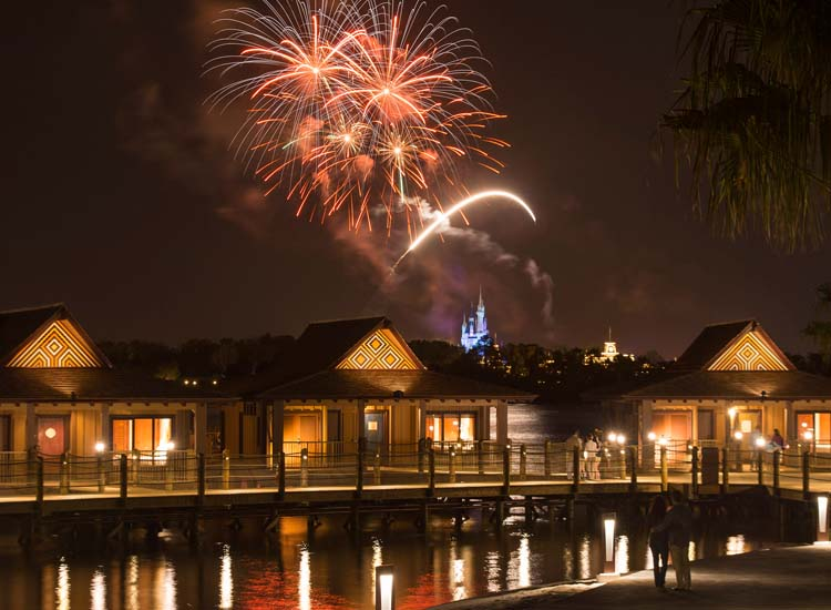 The overwater bungalows at Disney's Polynesian Village Resort offer amazing views of park fireworks. // © 2015 Walt Disney World Resort