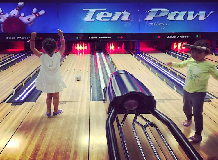 Mini-bowling at Ten Paw Alley is a fun option for those feeling waterlogged. // © 2016 Chelsee Lowe
