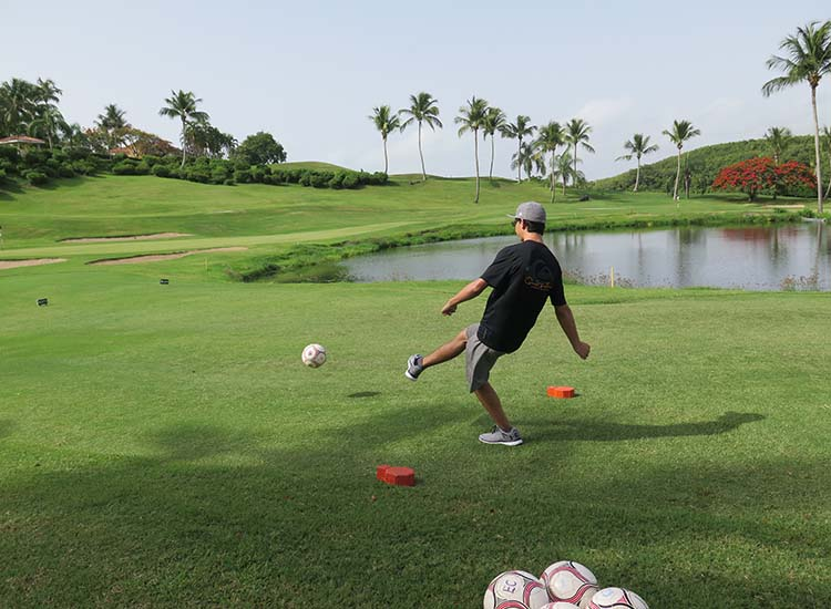Families can tee off for FootGolf at El Conquistador Resort, which has the only FootGolf course in Puerto Rico. // © 2016 Samantha Davis-Friedman