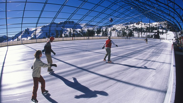 There are multiple ice rinks in and around Squaw Valley in the winter, but the Olympic Ice Pavilion is a favorite. // © 2015 Ben Davidson