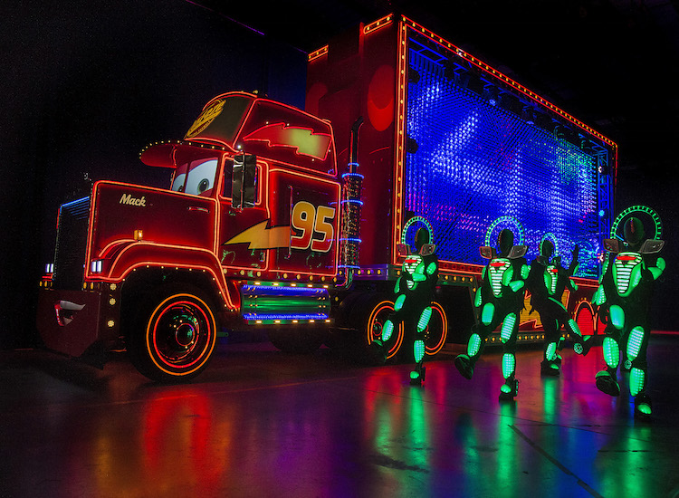"Mack from the film ""Cars"" will glow bright during the new ""Paint the Night"" spectacular. // © 2015 Paul Hiffmeyer/Disneyland Resort"
