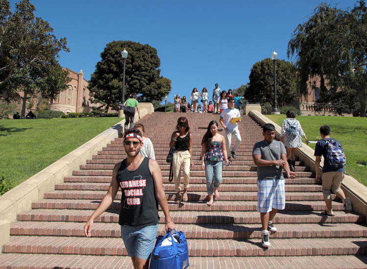 To burn off extra calories, some students opt to take Janss Steps to the main campus. // © 2015 UCLA