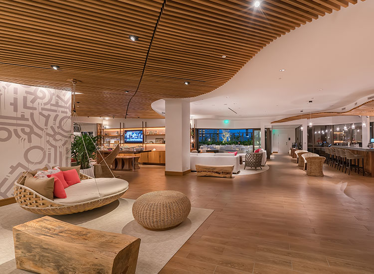 Pictured is the eighth-floor lobby of Hyatt Centric Waikiki Beach, which opened its doors to guests in December 2016. // © 2017 Hyatt Centric Waikiki Beach