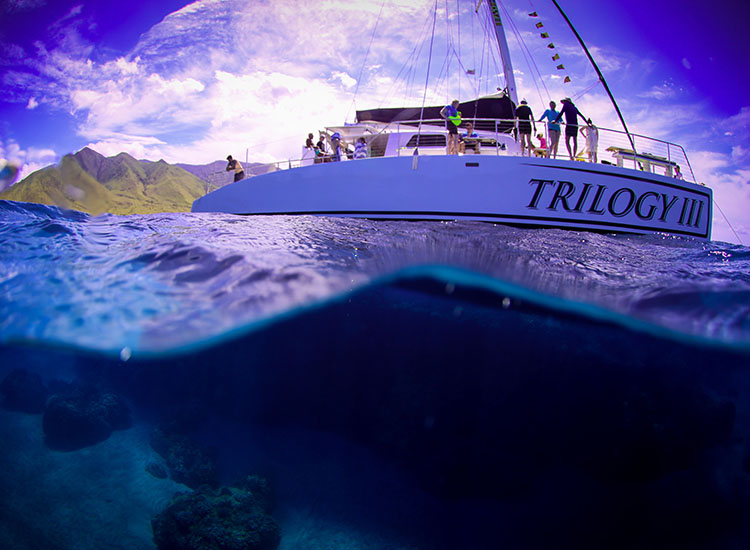 The Discover Kaanapali tour sails onboard Trilogy III, the company's newest sailing catamaran. // © 2017 Trilogy Excursions