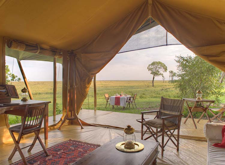 Spot wandering wildlife when you kick back in your Honeymoon/Family Suite tent at Elephant Pepper Camp, located in Masai Mara, Kenya. // © 2015 Elephant Pepper Camp, Kenya