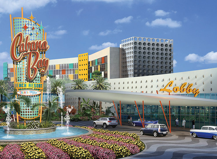 Now under construction, the retro-themed Universal's Cabana Bay Beach Resort—which is the largest hotel under construction outside of China—is slated to open in March 2014. // © 2014 Loews Hotels and Resorts