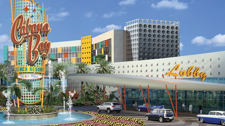 Now under construction, the retro-themed Universal's Cabana Bay Beach Resort—which is the largest hotel under construction outside of China—is slated to open in March 2014. // © 2014 Loews Hotels and