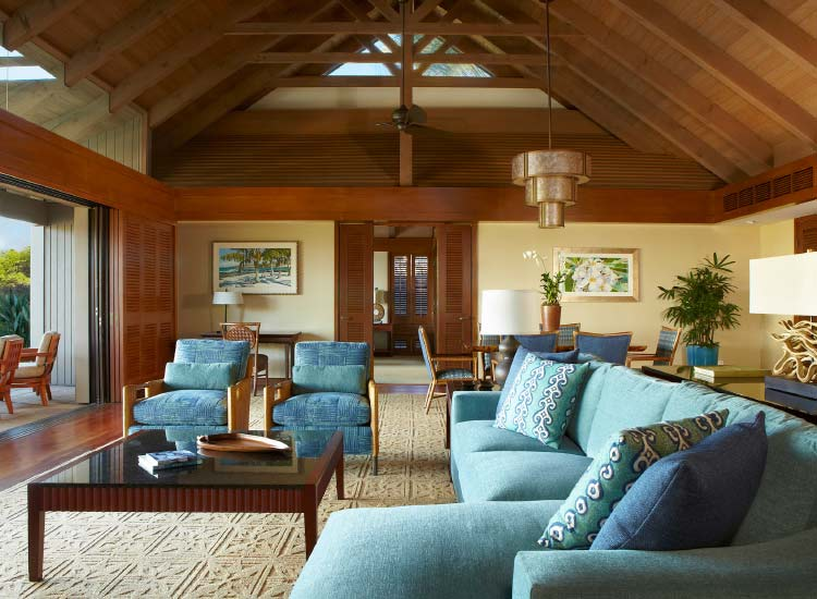 A bungalow's living room at Mauna Lani // © 2015 Villas of Distinction