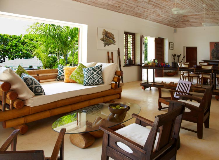 The living room at Ian Fleming's GoldenEye villa in Jamaica // © 2015 Villas of Distinction
