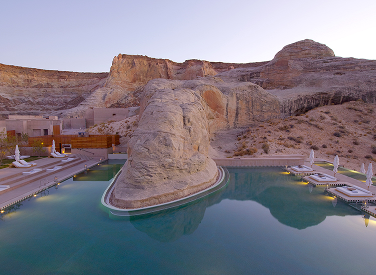 One of the most over-the-top luxury pools around the world is at Amangiri, a luxury resort in Utah. // © 2016 Amangiri