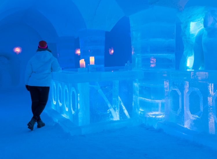 Guests at Sorrisniva can keep their insides warm with a drink from the hotel's ice bar. // © 2016 Ksenia Novikova