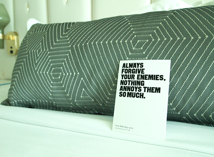 Food for thought in the form of quote cards in guestrooms // © 2014 Robin Rockey