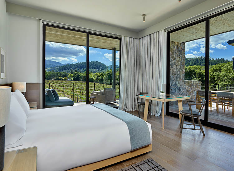 Most guestrooms face a vineyard belonging to next-door neighbor Beringer Vineyards. // © 2017 Las Alcobas, a Luxury Collection Hotel, Napa Valley