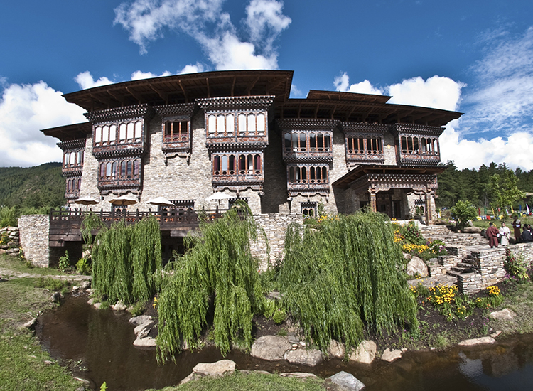 Zhiwa Ling's design reflects Bhutanese culture and has established its own composting and wastewater management system. // © 2015 Zhiwa Ling Hotel/National Geographic Unique Lodges of the World