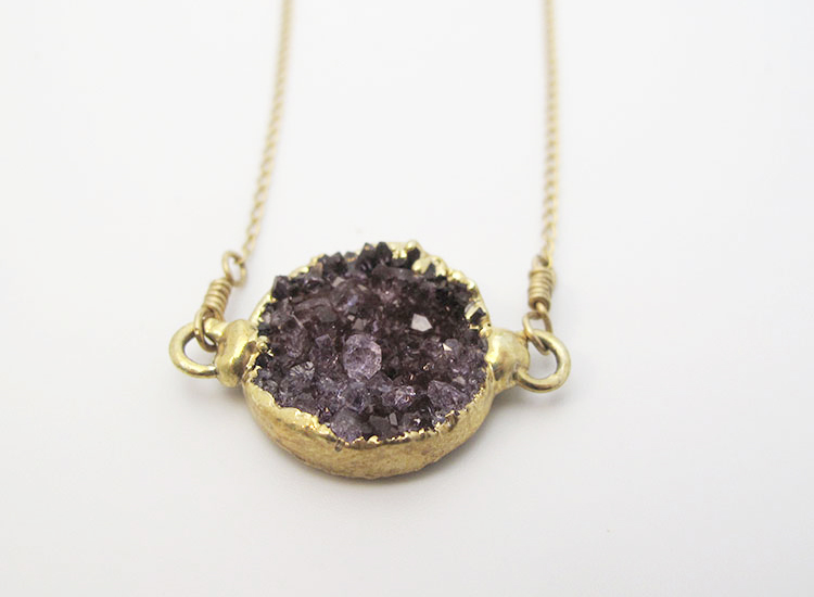 One top seller at Sayulita Sol Jewelry is the Amethyst Druzy Charm Necklace. // © 2015 Sayulita Sol Jewelry