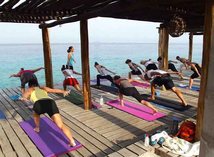 Hotel B Cozumel, an oceanfront boutique hotel, offers yoga classes to guests. // © 2016 Mexico Boutique Hotels