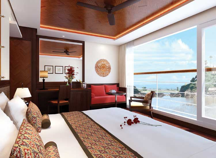 A suite on the Avalon Myanmar features Asian-inspired design touches. // (c) 2014 Avalon Waterways