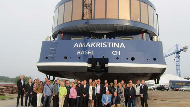 AmaWaterways held a surprise pre-christening ceremony for AmaKristina on April 28 at Vahali Zasavica shipyard in Serbia. // © 2016 Elizabeth Dupuis
