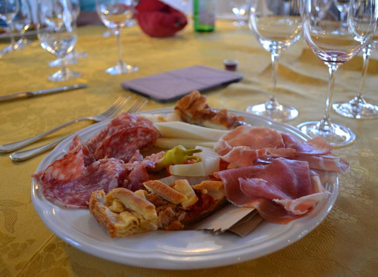 A proper Italian meal incorporates several courses, starting with antipasto. // © 2013 Skye Mayring