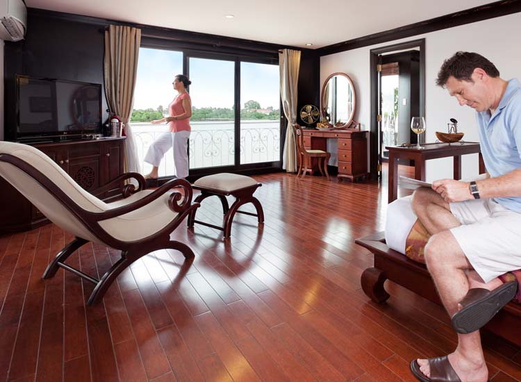Suites onboard AmaWaterways' 124-passenger AmaLotus are among the most luxurious accommodations on Asian rivers, with each suite measuring 624 square feet.  // © 2014 AmaWaterways