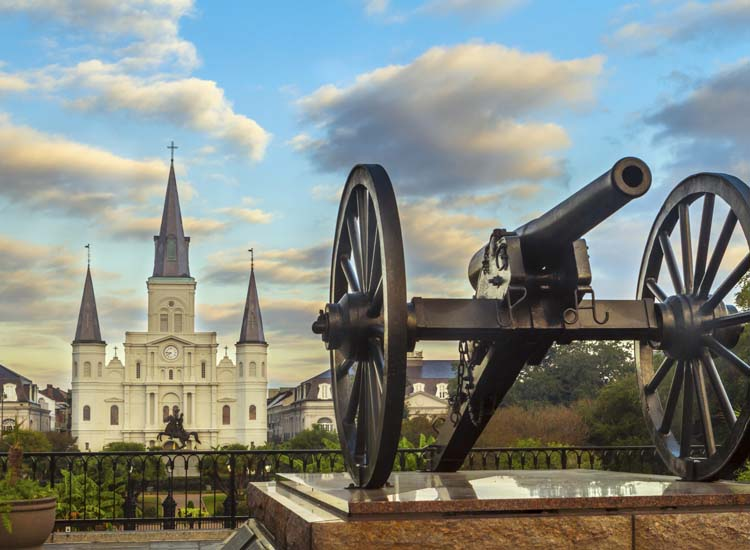 Many river cruisers look forward to stopping in New Orleans, and the historic Jackson Square is one of many sights to see. // © 2014 Thinkstock