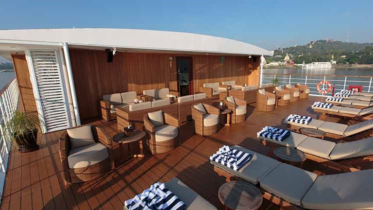The top deck of Avalon Myanmar is the sun deck. // © 2016 Avalon Waterways
