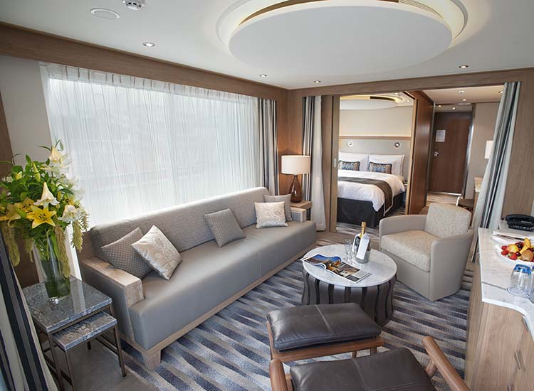 The 445-square-foot Explorer Suite is the largest stateroom category and features a wraparound veranda with 270-degree views. // © 2017 Viking River Cruises