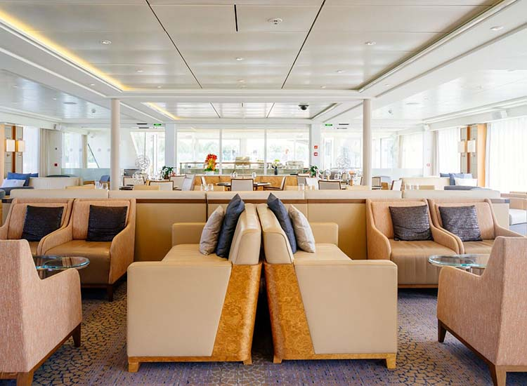 The light-filled lounge is the perfect spot to get some work done or grab a drink and mingle with fellow passengers before an evening meal. // © 2017 Viking River Cruises