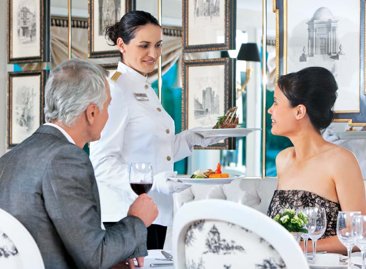 Onboard the River Countess, guests will be treated to a special wine pairing dinner in the main dining room.  // © 2013 Uniworld Boutique River Cruise Collection