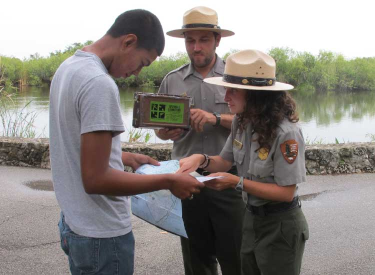 A GPS Geocache Trail invites guests to locate hidden caches. // © 2014 Everglades National Park