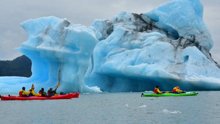 Saltwater kayaking among the icebergs in Columbia Bay with Pangaea Charters out of Valdez // © 2017 Christopher Batin