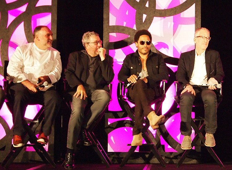 From left to right: Chef Jose Andres, designer Philippe Starck, Lenny Kravitz (who designed several suites with his firm Lenny Kravitz Design, Inc.) and Fred Segal CEO Paul Blumat the property's grand opening. // © 2014 Robin Rockey