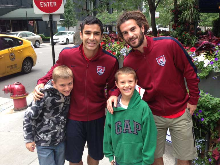 While enjoying their Seattle CityPass, the Marinis ran into U.S. national soccer team players Kyle Beckerman and Tony Beltran, who were getting ready to play against Panama. // © 2014 Amtrak Vacations