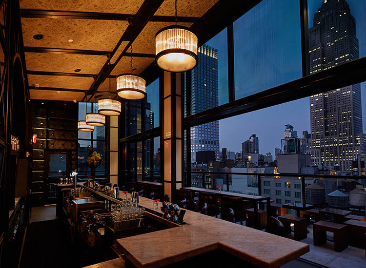 Spyglass Rooftop Bar is on the 22nd floor of the property. // © 2016 Archer Hotel New York