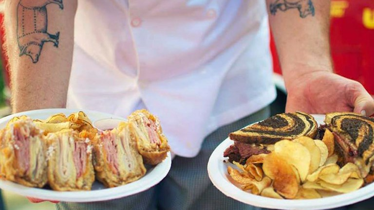 At the Hey!... You Gonna Eat or What? food truck, order the Spicy SXSW Reuben as well as the Shiner-Bock-beer-battered Monte Cristo. // © 2015 Hey!... You Gonna Eat or What?