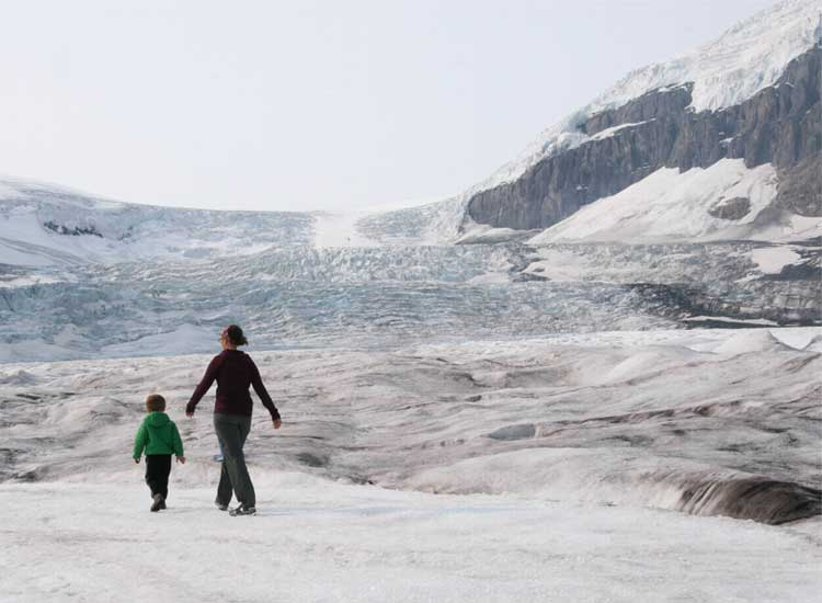 Visitors to the Columbia Icefield Glacier Discovery Centre can walk across the Athabasca Glacier. // © 2014 Tanya Koob