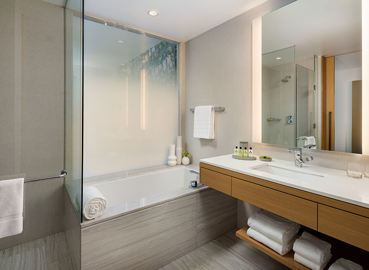In-room bathrooms are spacious. // © 2017 InterContinental Los Angeles Downtown