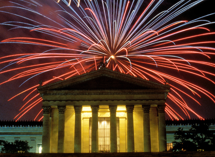 "The Grand Finale Fireworks show lights up the sky over the Philadelphia Museum of Art in the ""Birthplace of America."" // © 2014 Philadelphia Office of the City Representative"