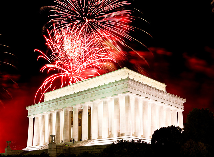 The National Mall in Washington, D.C., provides a stunning backdrop for the city's fireworks show, A Capitol Fourth. // © 2014 Destination DC